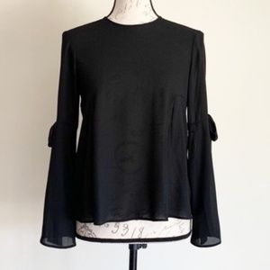 Topshop Black Bell Sleeve Top Sz 2